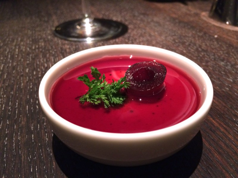 Amuse - Foie gras mousse with cherry gelee