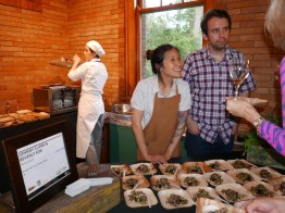 Beverly Kim and Johnny Clark of Parachute. Boudin Noir, Seedy Salad, Radish Sprouts, and Rhubarb