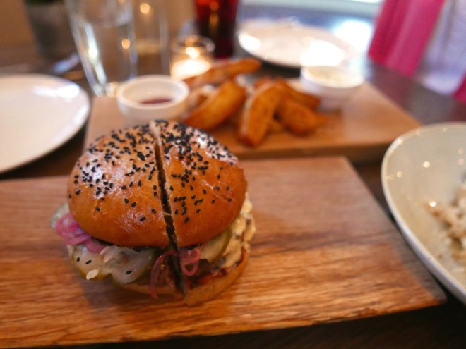 Beef Burger, aged cheddar, butterkase, smoked chili ketchup, aioli, pickles, pickled onions, house bun