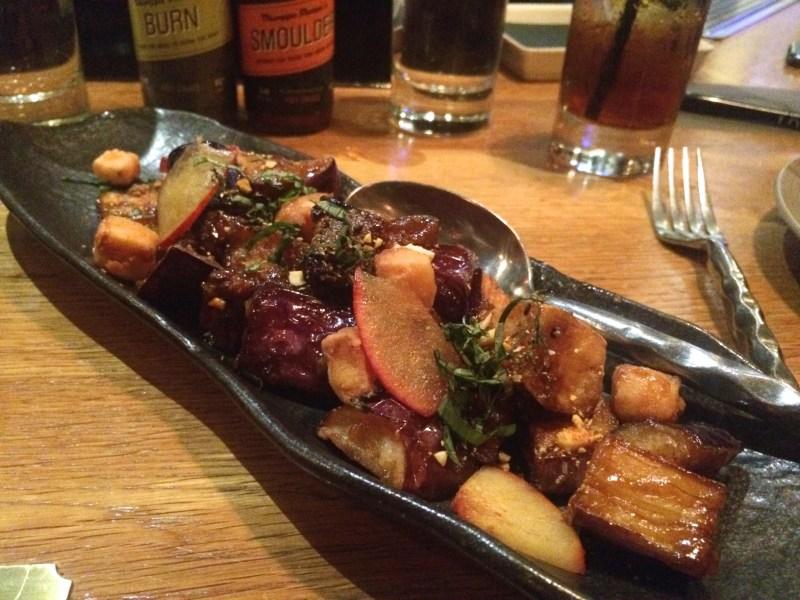EGGPLANT tofu, plum hoisin sauce, cashews, thai basil