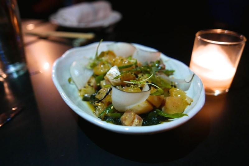 Hamachi Poke grapefruit, wakame, ponzu vin, scallions