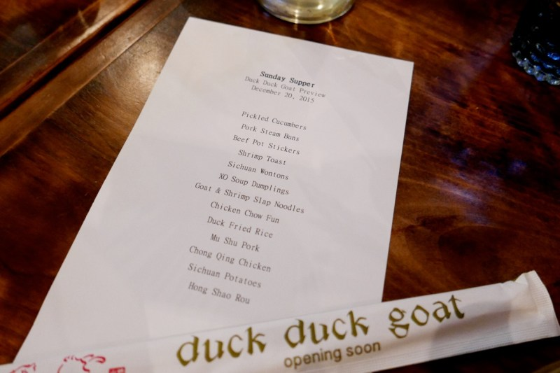 Duck Duck Goat Preview Menu
