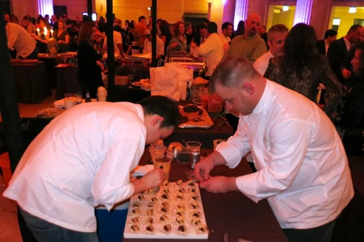 Working fast while people wait for their 3rd helping. Foie Gras Mousse by Dale Levitski of Sprout