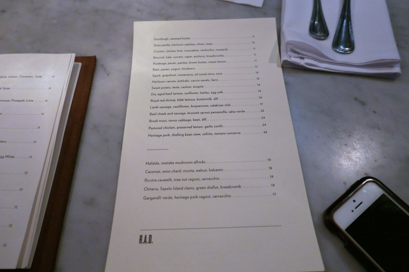 Menu at Rolf and Daughters