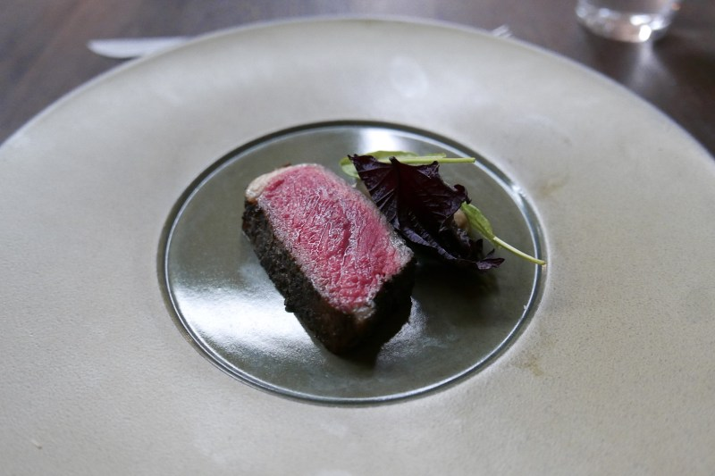 Bear Creek Farms Strip Loin Umami Crust, Shisho, Eggplant