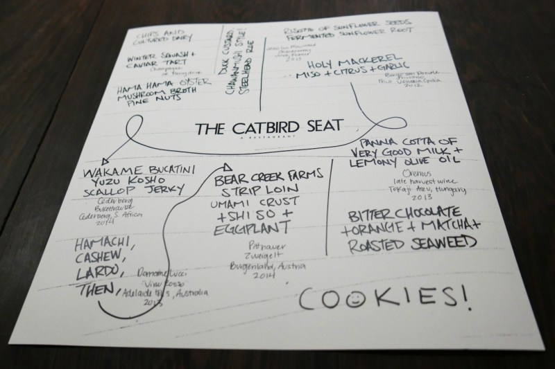 Menu at The Catbird Seat