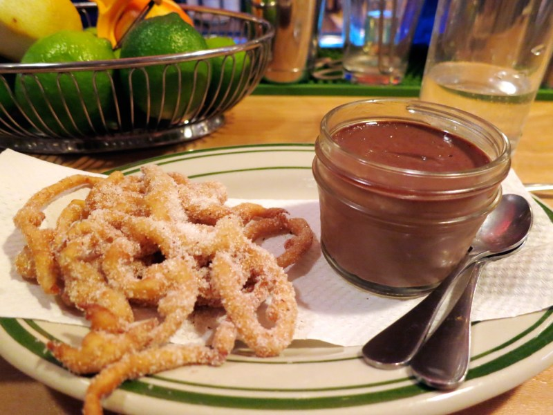 Abuelita Chocolate Pot de Creme with Funnel Cake [The Day's Special]