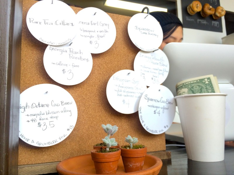 The day's brews by Rare Tea Cellars and Sparrow Coffee