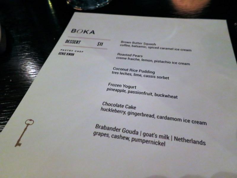 Dessert menu at Boka