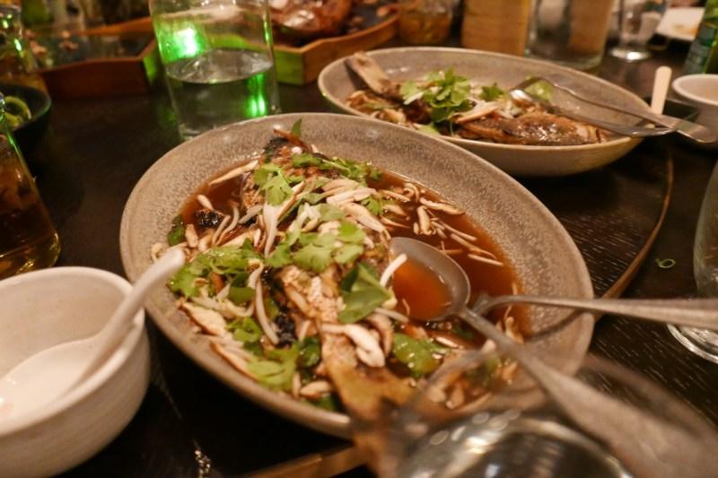 Shui Zhu Yu Sichuan-style grilled whole fish of the day. (Yellowtail)