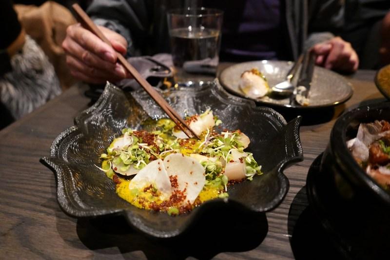 Scallop Crudo, mustard, passionfruit, charred daikon