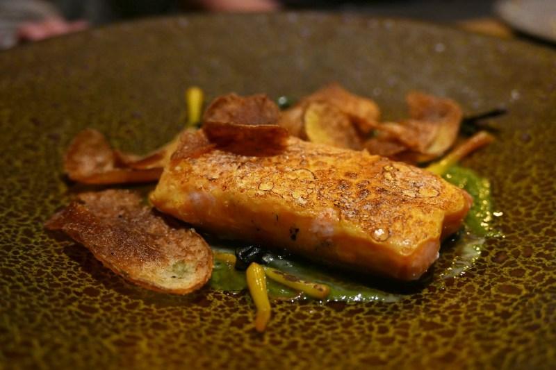 Maple Poached Salmon, blistered egg yolk, ramp tops, romanesco