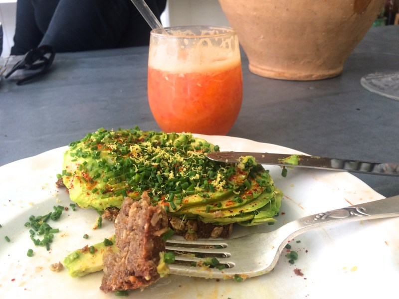 Blood orange juice, avocado on rye at Atelier September