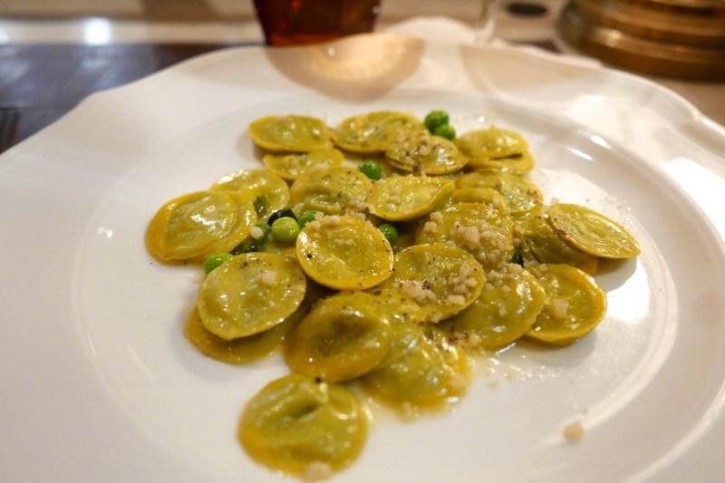English Pea Ravioli, spring onion, basil, parmesan