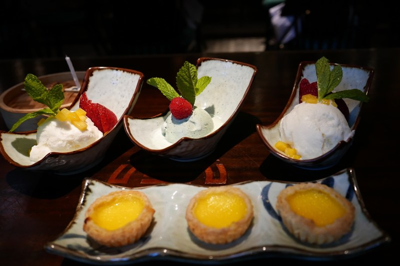Coconut gelato, Green tea gelato, Egg custard tarts