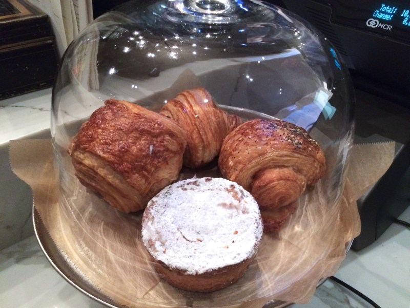 Chocolate croissant, croissant, ham and cheese croissant, rhubarb pastry.