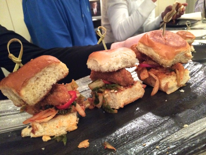 Oyster Po' Boy Sliders with kimchi