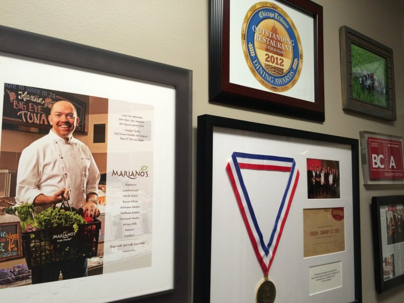 Special awards and plaques downstairs at GT Fish & Oyster