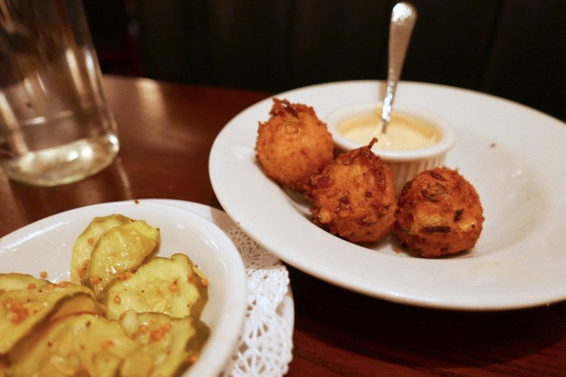 Bacon Cheddar Hush Puppies, Pickles on the house