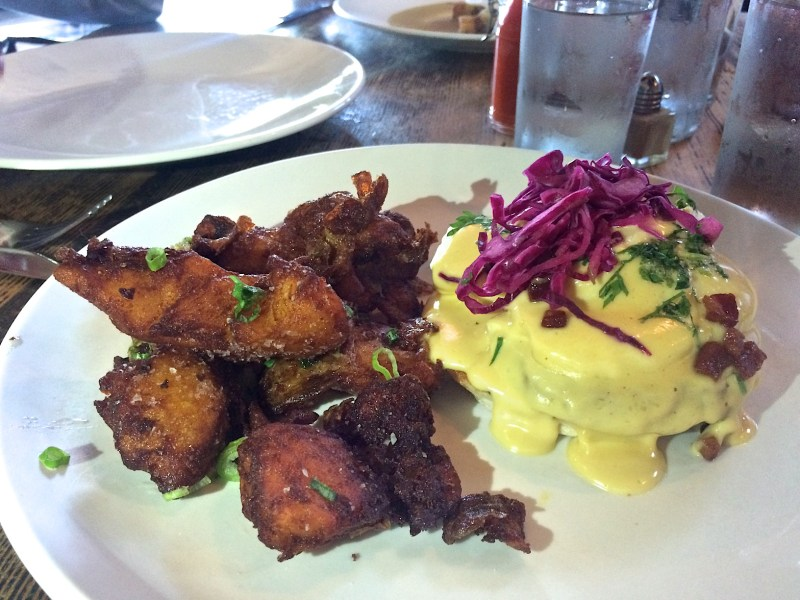 Pork Belly Benedict, Red Eye Hollandaise, Slaw, English Muffin, House Potatoes
