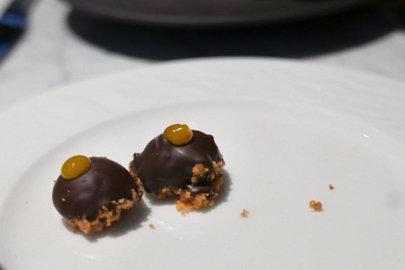 Chocolate Covered Foie, Cara Cara Orange, Sea Salt, Almond