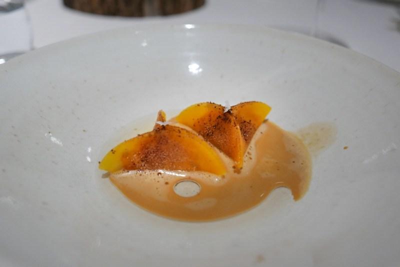 Langoustine, pumpkin, passion fruit, vanilla