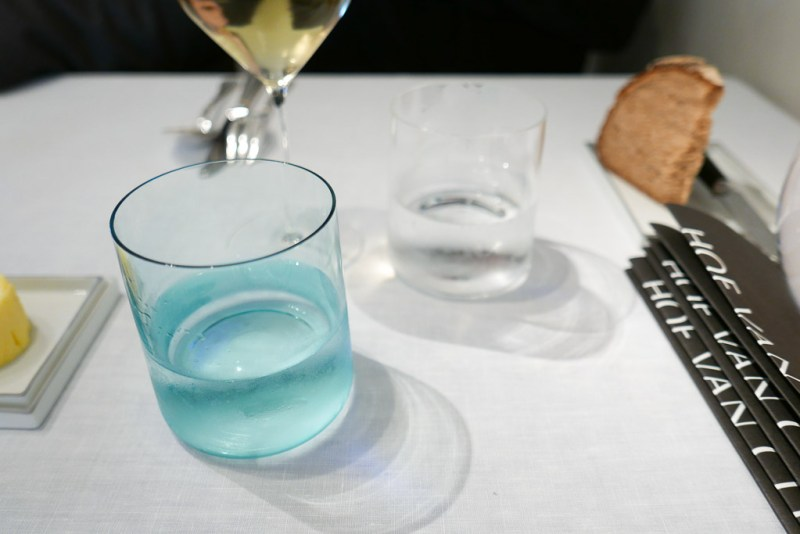 Aqua glass for still water. Clear for sparkling.