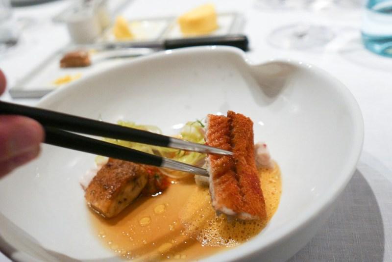 Eel 'Grevelingen,' eggplant, chicken wing, bouillabaisse