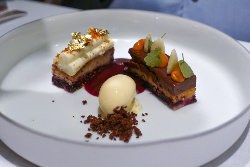 Chocolate 'Madagascar' 67%, almond, raspberry, sea buckthorn