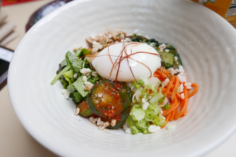Bibimbap. Barley rice, gochujang sauce, vegetables, chicken, egg, nori