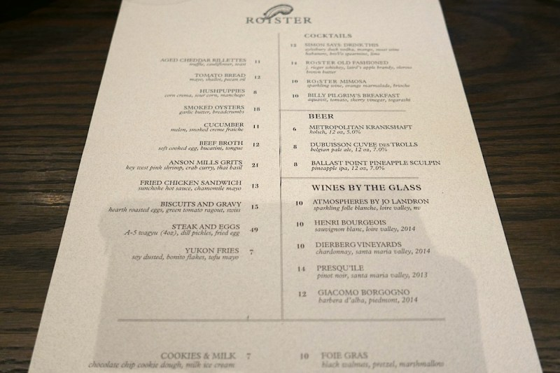 Lunch Menu at Roister