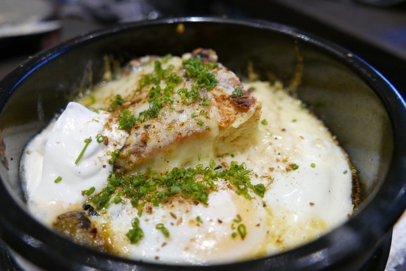 Biscuits and Gravy, Hearth-Roasted Eggs, Green Tomato Ragout, Swiss