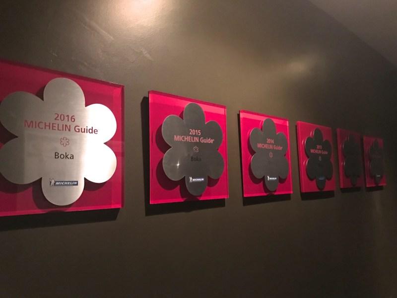 Michelin awards at Boka