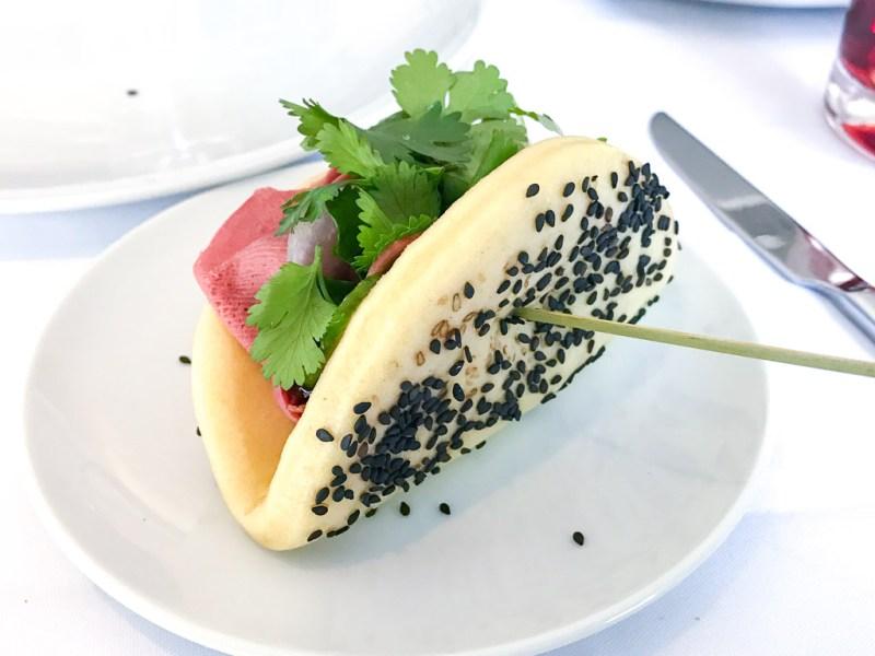 Steam Bun, veal, daikon, radish, soya, sesame, coriander