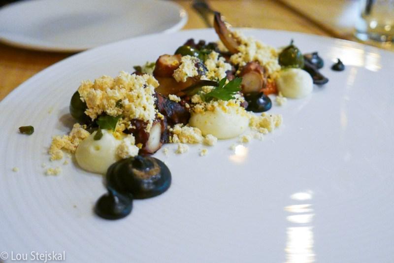 Octopus, eggplant, olive, espelette, romesco, potato