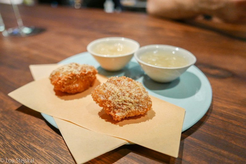 Chicken Oyster, Honey Mustard Powder. and Kimchi granita chaser
