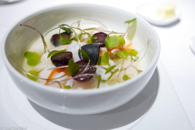 Marinated Scallops, Heirloom Beans, Grapes, Kohlrabi