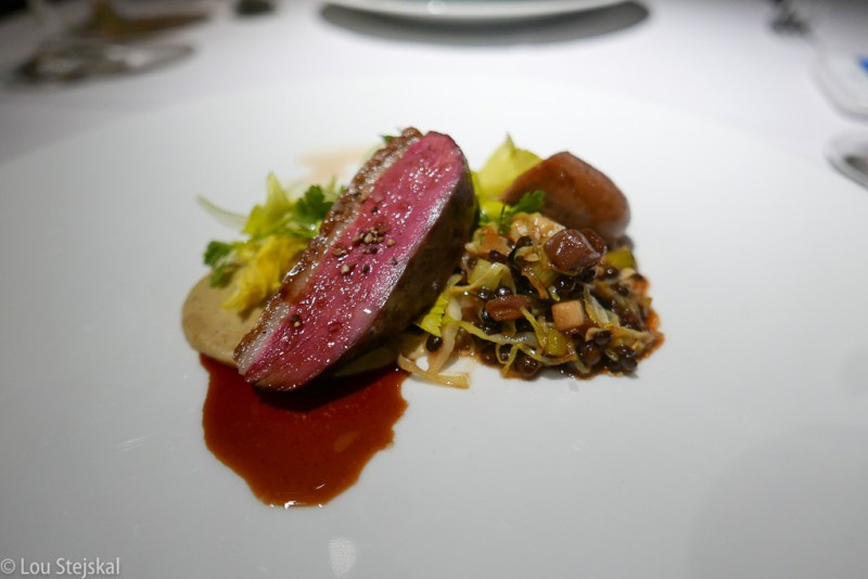 Duck Breast & Sausage, Lentils, Celery Root, Cabbage