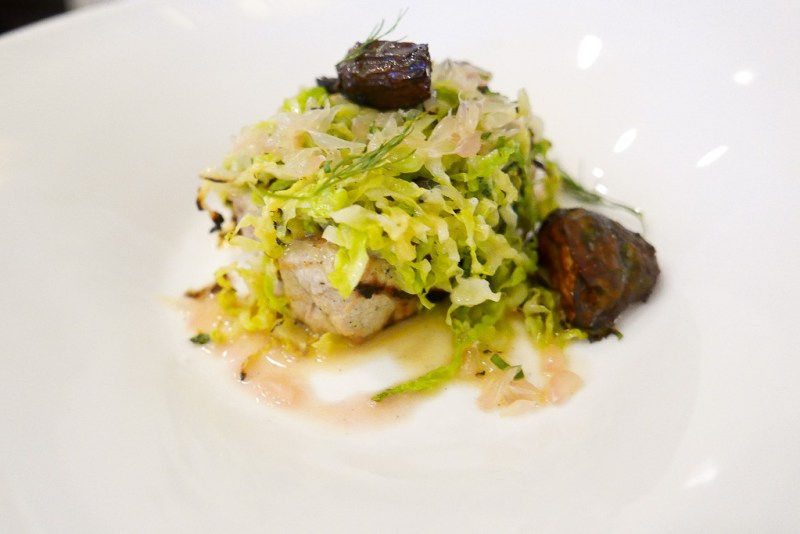 Wood-Grilled Sturgeon, charred cabbage buerre blanc, sunchokes, pomelo, dill