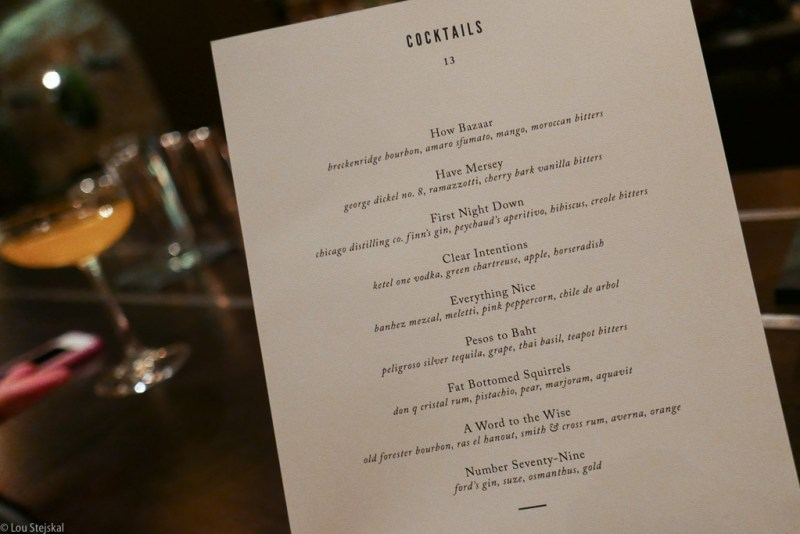 Cocktail menu at Boka