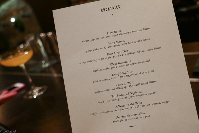 Cocktail menu at Boka