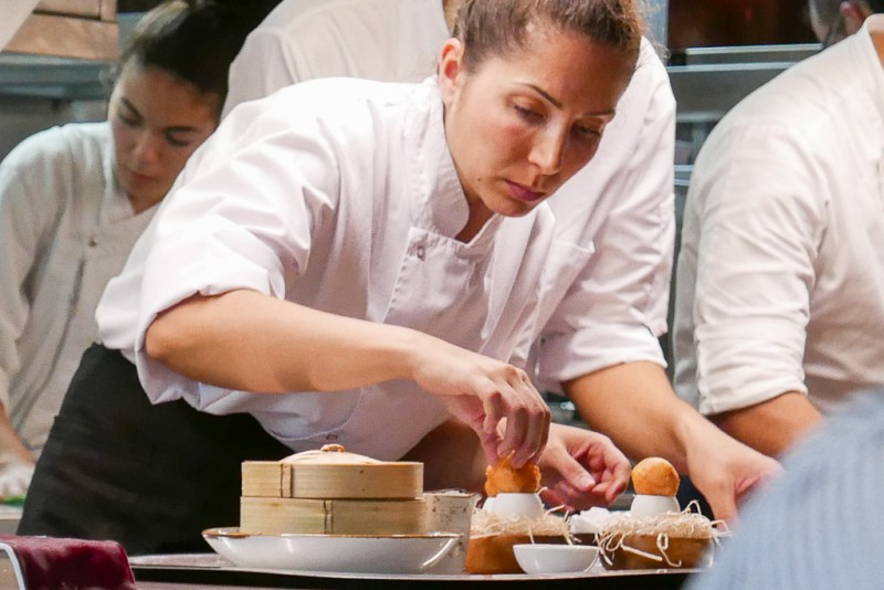 Plating the Crispy Egg Yolk