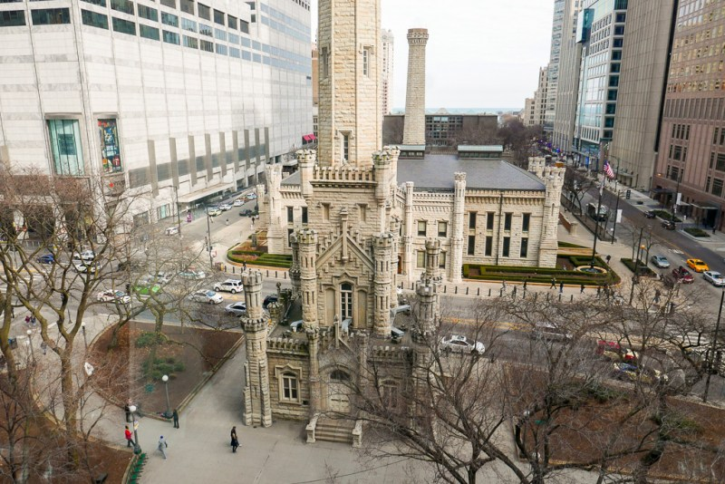 View of Chicago Water Tower from the table