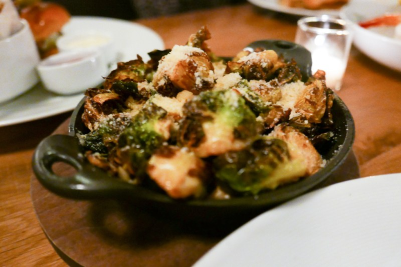 Brussels Sprouts, bacon, parmesan, lemon-fish vinaigrette ($7)
