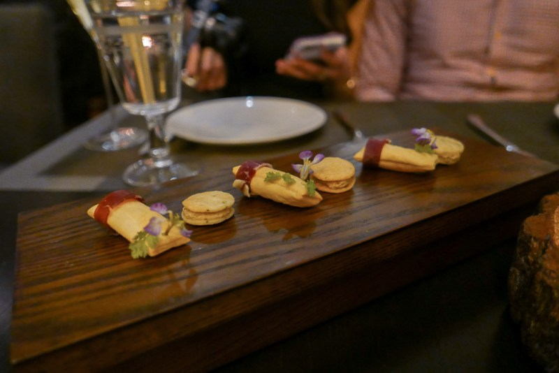 1) Iberico Grissini Bread Filled with Boursain Cheese 2) Parmesan Thyme Cookie filled with bavarian truffle cream