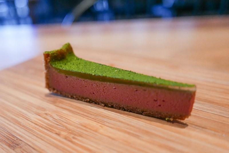 Duck Liver Tart, buckwheat crust, salted ramps, parlsey