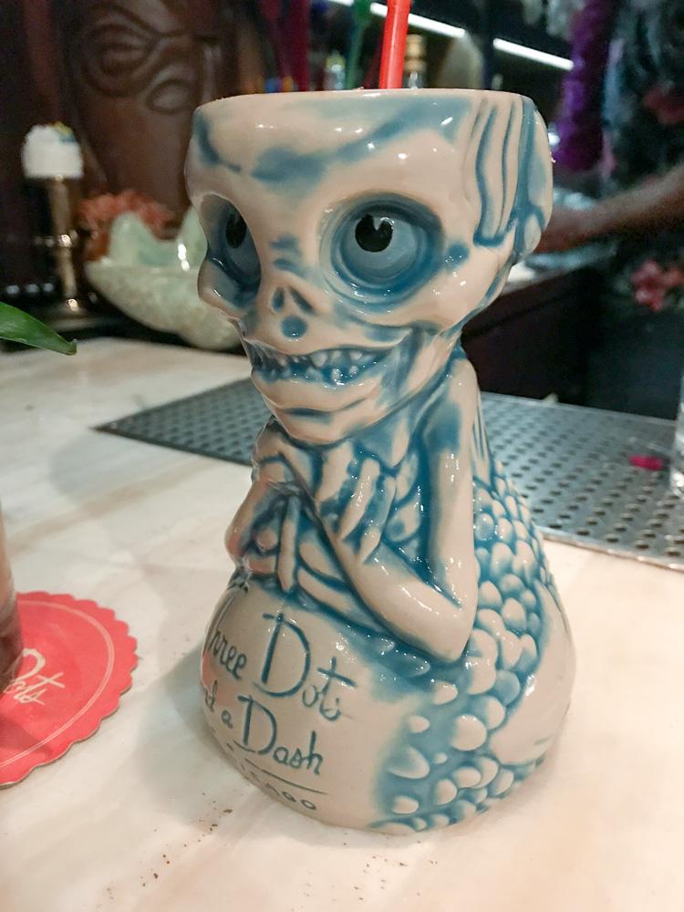 Tiki mug at Three Dots and a Dash