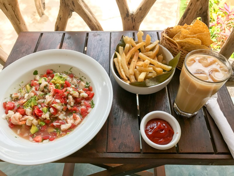Mexican ceviche, papas, ice coffee, chips