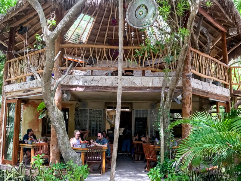 Alyaya Tulum restaurant and yoga studio.