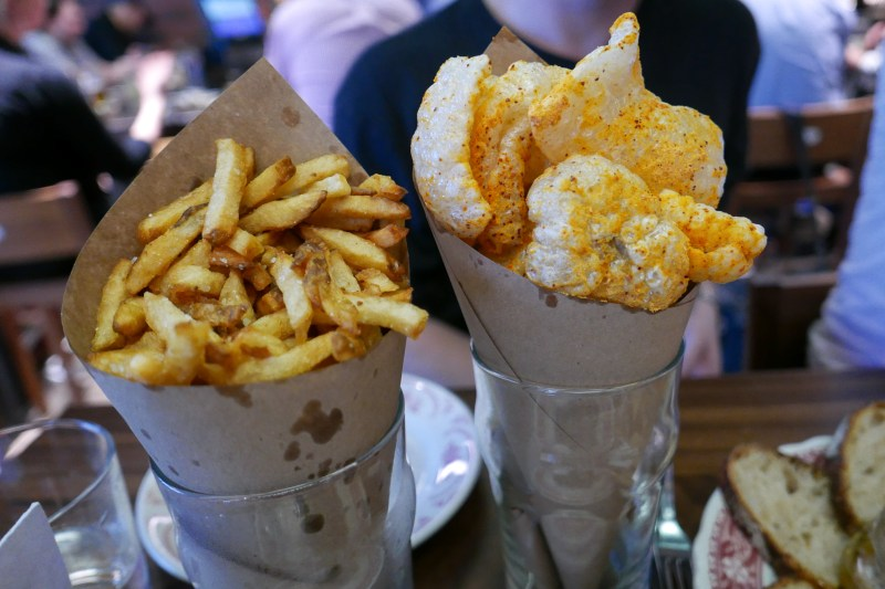 Frites ($7) | Spicy Pork Rinds ($6)